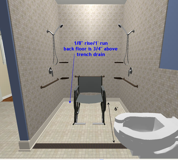 wheelchair rollin shower