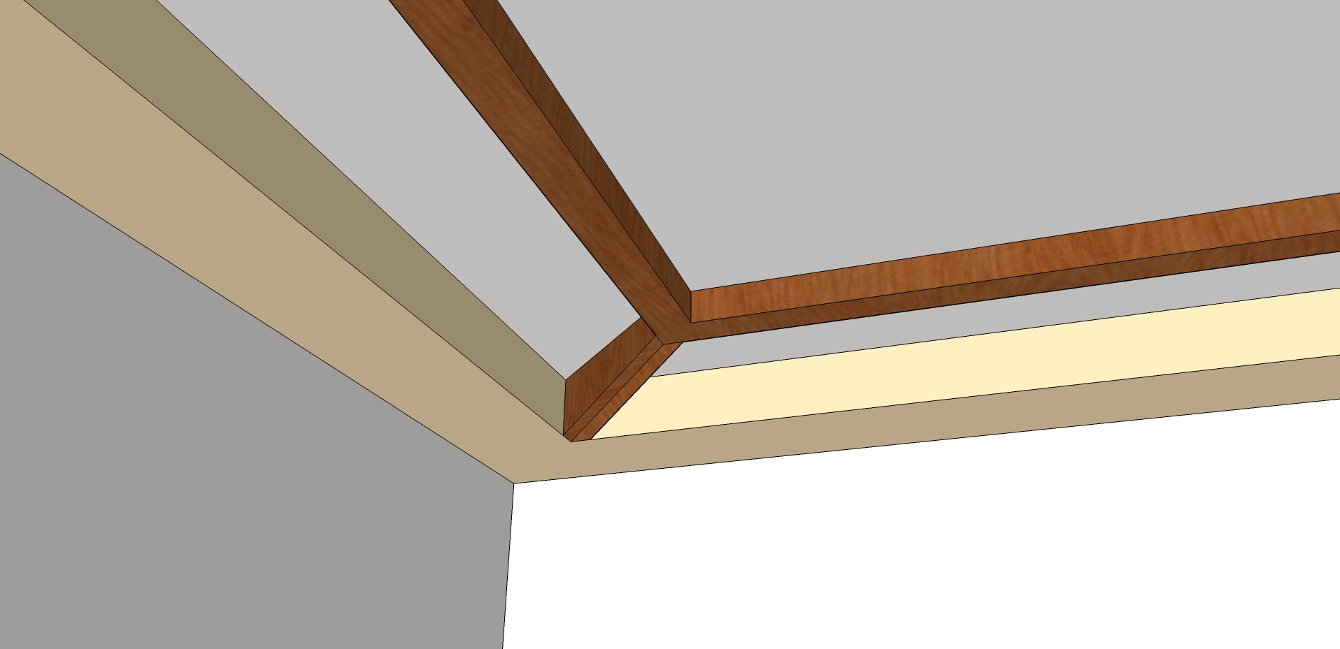 How would you make this box beam connection in tray for Box beam ceiling