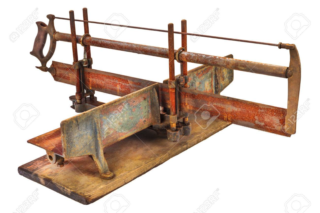 First miter saw I used was cordless - what about you?-vintage-rusty-manual-miter-saw-isolated-white-background.jpg