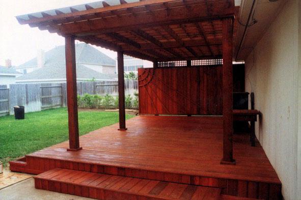 Sealing A New Deck. Wood Trelles Lexann Sheet Roofing.