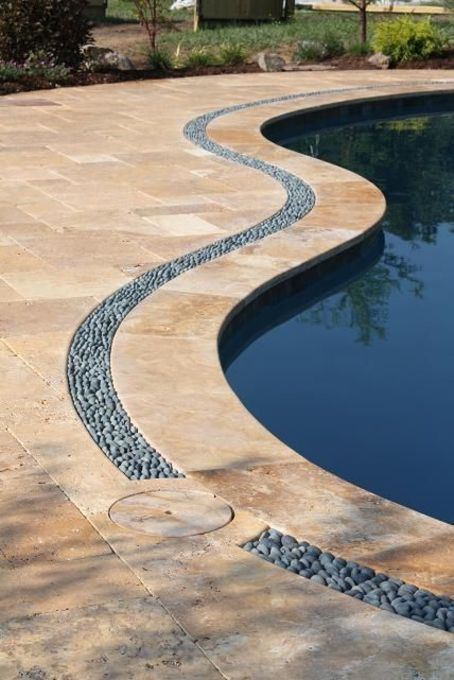 Travertine Pool Patio Coping And River Rock Border