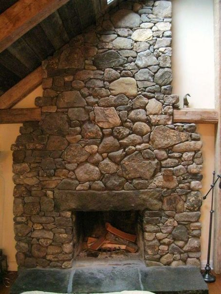 Fieldstone Fireplace With Granite Lintel Amp Hearth