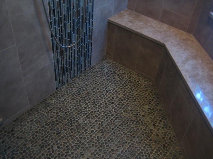 Shower floor pebble tile